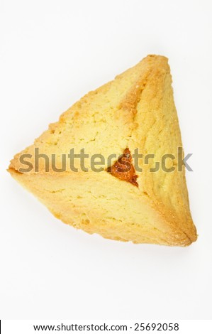 Hamantashen pastry with apricot for celebration of the Jewish Purim festival - stock photo