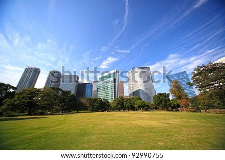 Hamarikyu gardens in Tokyo, Japan. - stock photo