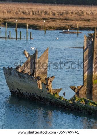 Hamble wreck - stock photo