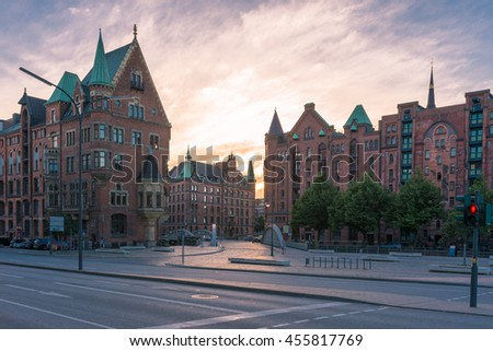 Hamburg famous warehouse district called Speicherstadt in the former free port. Today the Speicherstadt is a unesco world heritage site. The whole warehouse district is crossed by water channels - stock photo