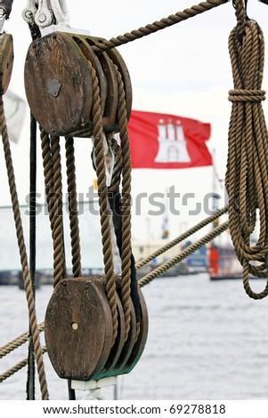Hamburg flag and rigging on a ship - stock photo