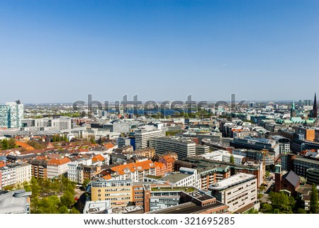 HAMBURG, GERMANY - April 16, 2009: Aerial view on the Alster in Hamburg, Germany - stock photo