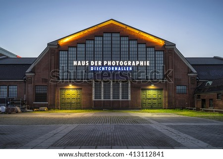 Hamburg, Germany - April 10, 2016: The old Speicherstadt in Hamburg, Germany, at evening.