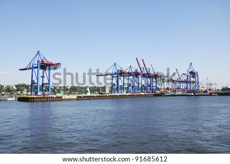 HAMBURG, GERMANY - AUGUST 20: Docks at the Hamburg harbor on August 20, 2011. Hamburg is the biggest port of Germany, covering an area of 74 km², handling almost 10 million containers a year.