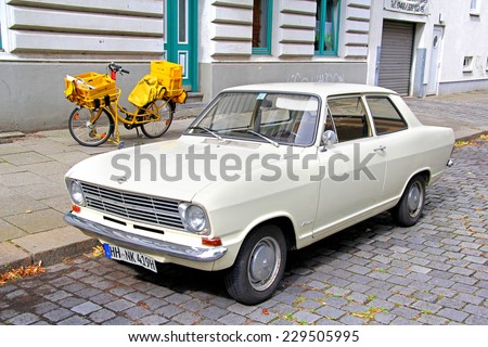 HAMBURG, GERMANY - AUGUST 11, 2014: German classic car Opel Kadett B at the city street. - stock photo