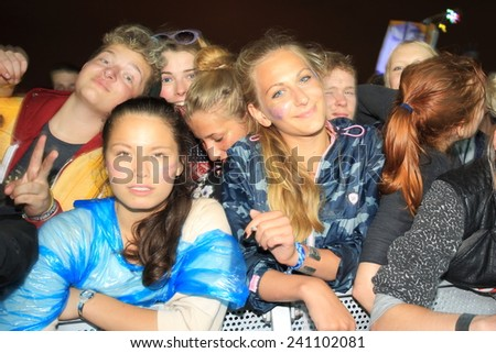 HAMBURG, GERMANY - AUGUST 16, 2014: Hipster concert crowd at MS Dockville Festival on August 16, 2014 in Hamburg. - stock photo