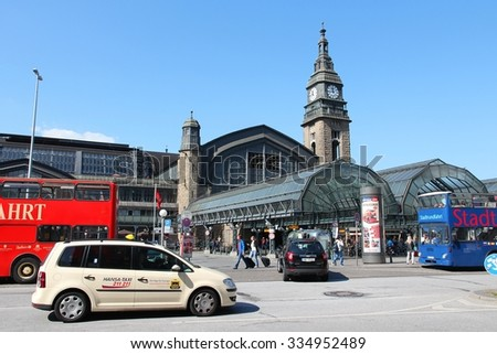 HAMBURG, GERMANY - AUGUST 28, 2014: People visit Central Railway Station (Hauptbahnhof) in Hamburg. With 450,000 daily passengers it is the 2nd busies station in Europe.