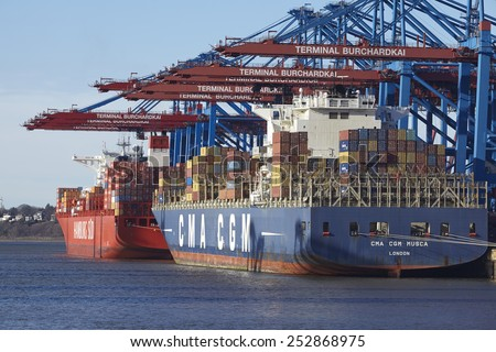 HAMBURG, GERMANY - FEBRUARY, 8. The container vessel CMA CGM Musca is loaded and unloaded at the container terminal Burchardkai in the deepwater port Hamburg Waltershof on February 8, 2015.