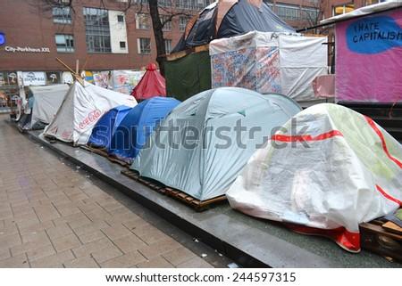 HAMBURG, GERMANY - JANUARY 8, 2013: Occupy Hamburg protesters' camp in center of Hamburg. - stock photo