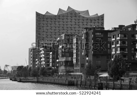 Hamburg, Germany - July 15, 2016: The Elbphilharmonie, a concert hall in the Hafen City quarter of Hamburg, Germany.
