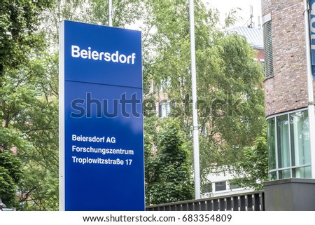 Hamburg / Germany - July 13 2017: The headquarters of Beiersdorf is responsible for the manufacturing of the personal care products like Elastoplast, Eucerin,Aquaphor, Labello, La Prairie, Nivea and
