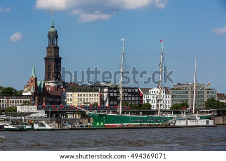 HAMBURG, GERMANY - JUNE 6, 2016: View of the St. Pauli Piers (German: St. Pauli Landungsbrucken) one of Hamburg's major tourist attractions on June 6, 2016. Its the largest landing place Hamburg.