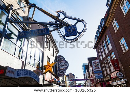 HAMBURG, GERMANY - MARCH 08: Guitar sign of the Music Club at the GroÃ?Â?e Freiheit 36 on March 08, 2014 in Hamburg. The Music Club was opened 1985 by world famous blues guitarist Rory Galagher. - stock photo