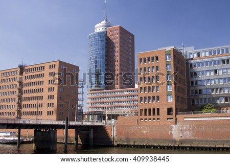 HAMBURG, GERMANY - 19 MARCH 2015: Modern architecture at Traditionsschiffhafen at Sandtorhafen located on the Elbe river islands