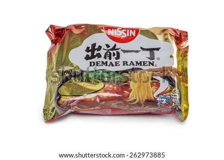 HAMBURG, GERMANY - MARCH 11 2015: Pack of Nissin Demae Ramen asian noodles isolated on white background - stock photo