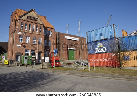 HAMBURG, GERMANY - MARCH, 8. The Port museum of Hamburg (Germany) with some old equipment of the Port of Hamburg (Germany) taken on March 8, 2015. - stock photo