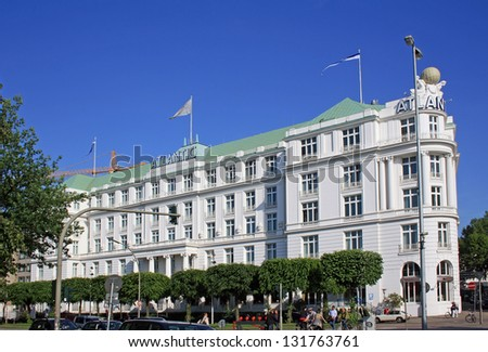 HAMBURG, GERMANY - MAY 23, 2011: Hotel Atlantic is shown on May 23, 2011 in Hamburg in Germany. It is one of the most known and richest hotels in Germany. - stock photo