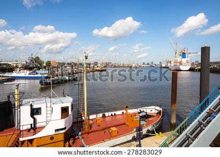 HAMBURG, GERMANY - MAY 06. Reefer ship in the Hansa harbor basin for unloading fruits and bananas on May 06. 2015. Here is the fruit - and refrigeration center Hamburg for perishable commodities - stock photo
