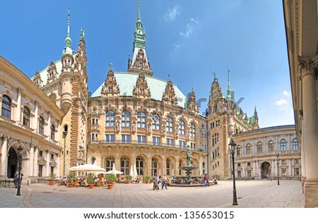 HAMBURG, GERMANY - MAY 22: The patio of the townhall of Hamburg on March 22, 2008. The building was built in 19th century and is the seat of Hamburg government and the First Mayor. - stock photo
