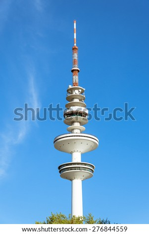 HAMBURG, GERMANY - MAY 10. View to the radio telecommunication tower Heinrich Herz Turm in Hamburg on May 10, 2015. With a height of 279m, the tower is the tallest building of the City. - stock photo