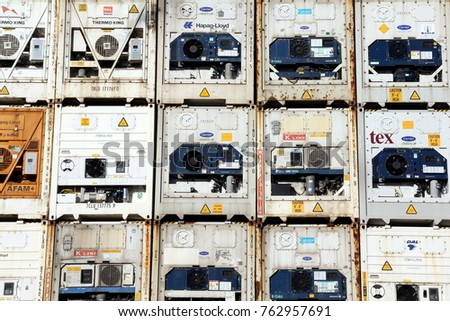 HAMBURG, GERMANY - OCTOBER 1, 2017: Plenty of Refrigerated shipping containers stacked at the Port of Hamburg