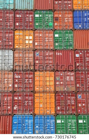 HAMBURG, GERMANY - OCTOBER 1, 2017: Plenty of varicolored shipping  containers stacked at
