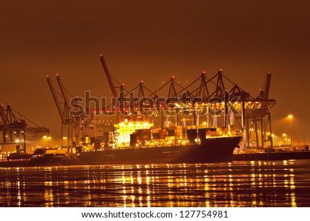 Hamburg  harbor at night - stock photo