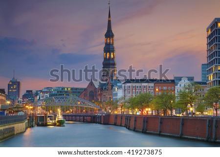 Hamburg. Image of Hamburg- Speicherstadt during twilight blue hour. - stock photo