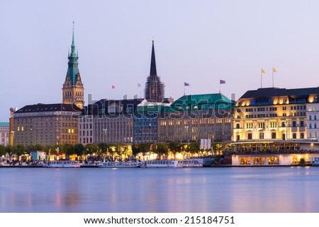 Hamburg Jungfernstieg view - stock photo