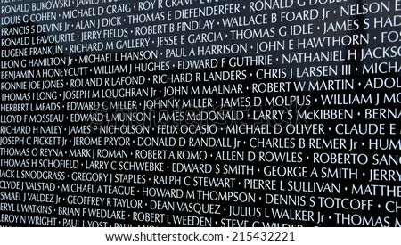 HAMBURG, MI - AUGUST 30: Close-up of names on the traveling Moving Wall Vietnam War memorial exhibit in Hamburg, MI on August 30, 2014. - stock photo