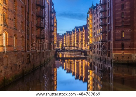 Hamburg Speicherstadt at night