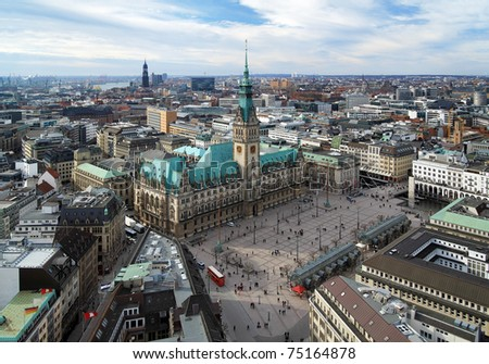 Hamburg, view of City Hall and the city panorama, Germany - stock photo