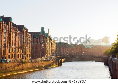 Hamburg warehouse district, Speicherstadt, at a late sunny afternoon - stock photo