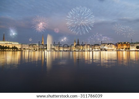 Hamburg with fireworks - stock photo