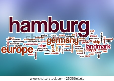 Hamburg word cloud concept with abstract background - stock photo