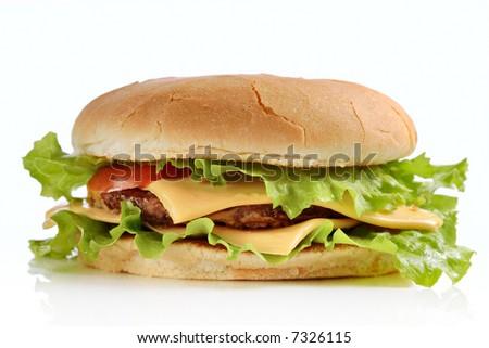 Hamburger against white background - stock photo