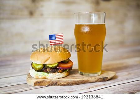 Hamburger and Beer - stock photo