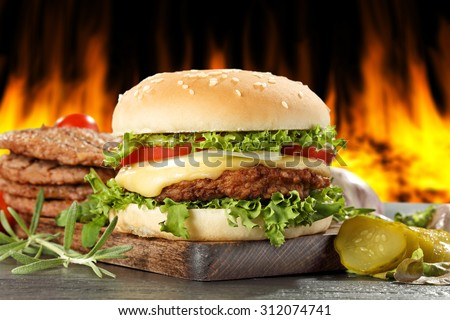 hamburger and fire