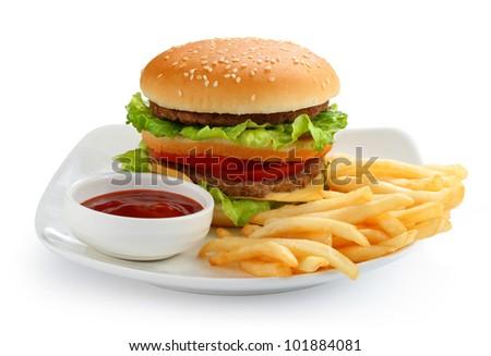 Hamburger and french fries - stock photo
