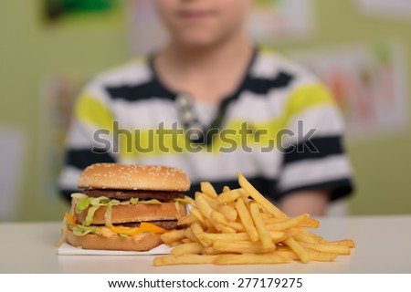 Hamburger and french fries for unhealthy lunch - stock photo