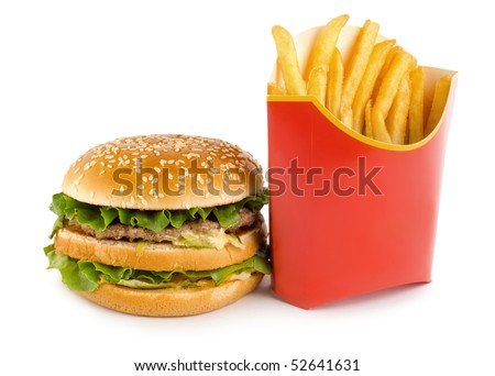 Hamburger and french fries isolated on white background. - stock photo