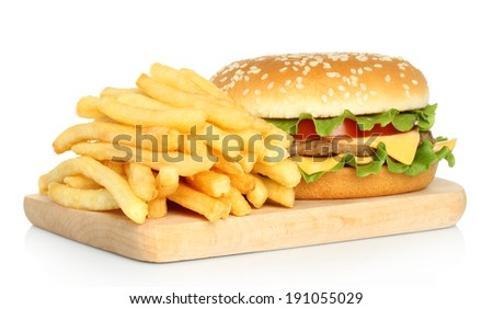 Hamburger and french fries on white background