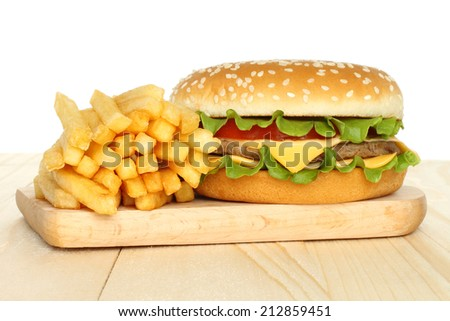 Hamburger and french fries on white background   - stock photo