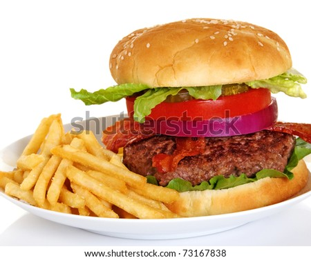 Hamburger and french fries on white plate