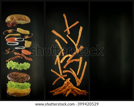 Hamburger and french fries with flying ingredients (filtered) - stock photo
