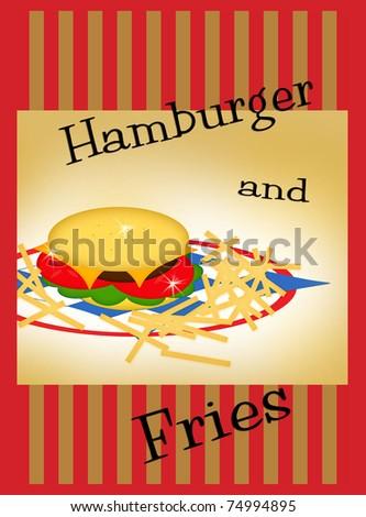 Hamburger and Fries Advertisement - stock photo