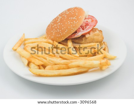 Hamburger and fries on a plate - stock photo