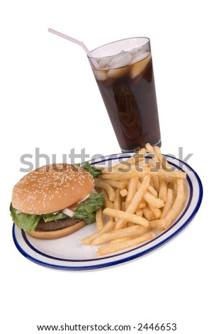Hamburger and fries on a striped plate with a soda on white background - stock photo