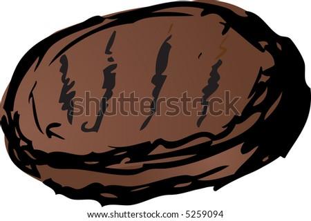 Hamburger Barbecued meats illustration. Retro lineart hand-drawn look - stock photo