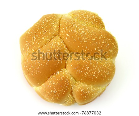 Hamburger bun , close up on a white background - stock photo